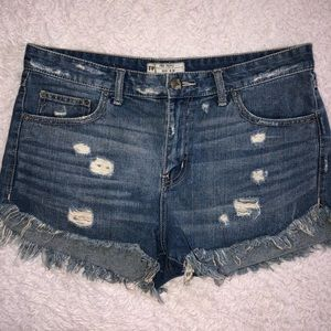 Free People Distressed Raw Hem Shorts